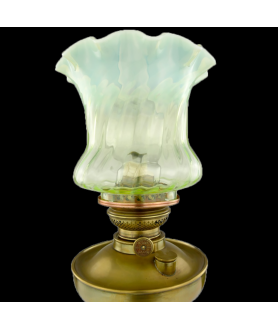 Exceptional 16 Line Globe Vulcan Lamp with Original Chimney