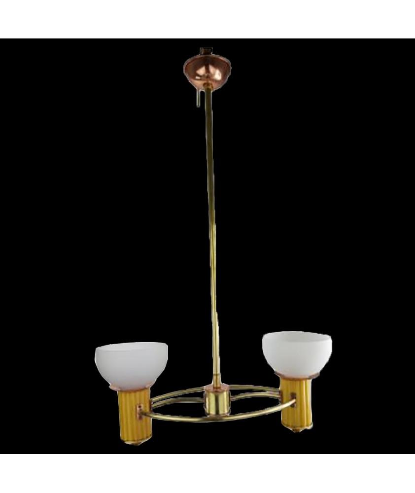 Art Deco  Copper and Brass 2 Arm Pendant