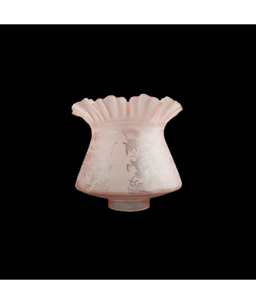 Victorian Pink Etched Gas Shade : 62mm Base