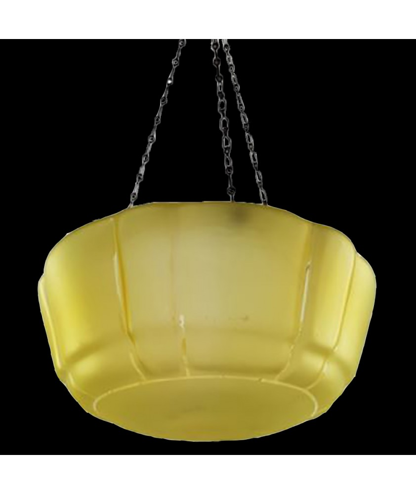 Amber Glass Art Deco Hanging Bowl