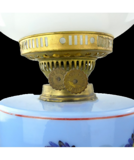 Duplex Oil Lamp with Floral Font