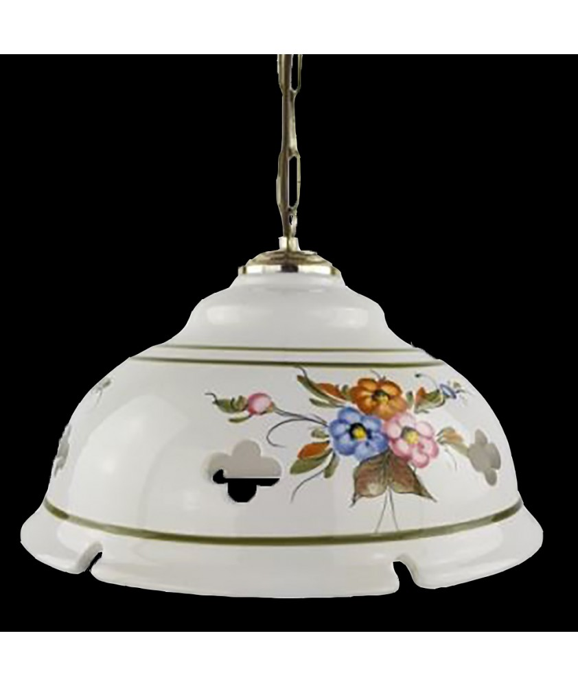 Ceramic Ceiling Shade Pendant Light with Flower Pattern