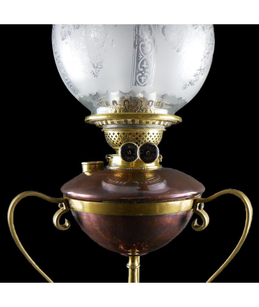 Rowatts Arts and Craft Copper and Brass Oil Lamp