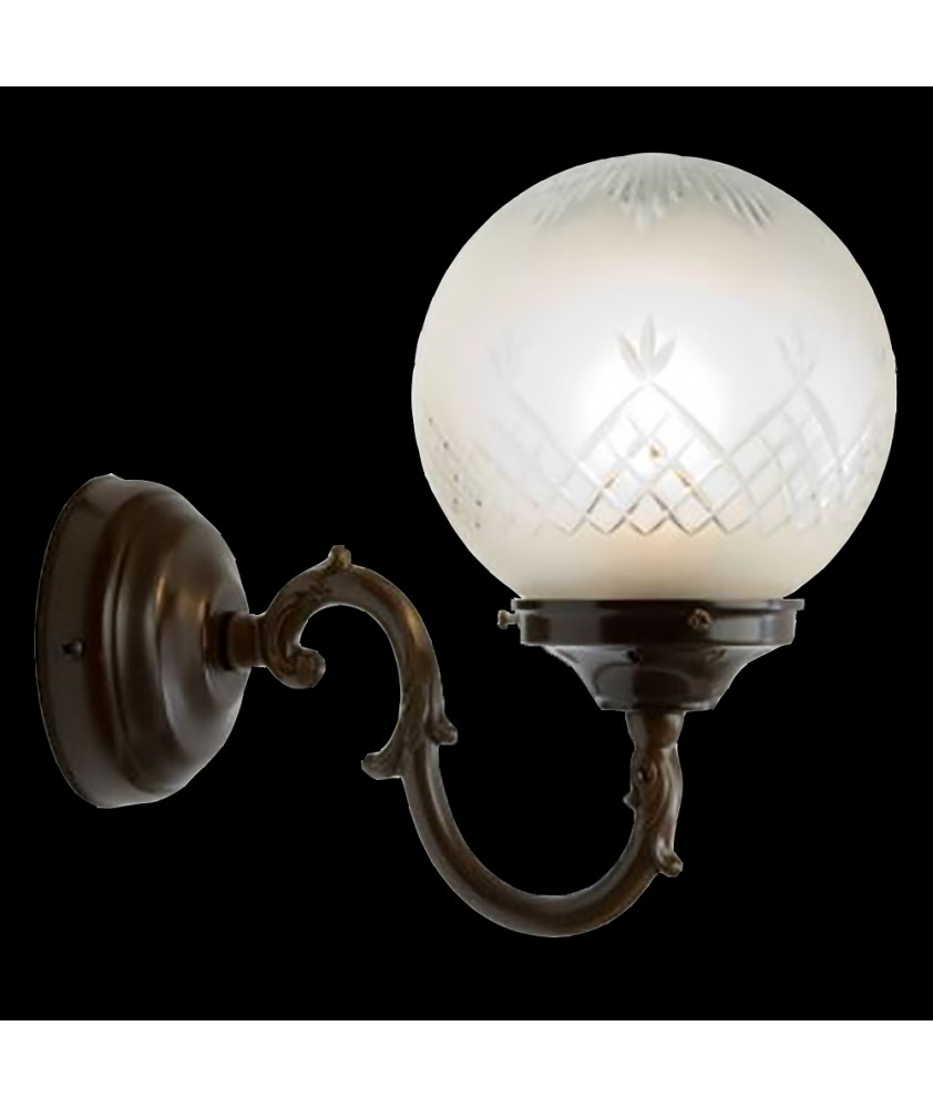 Antique  Wall  Light with Etched Globe Bell Shade