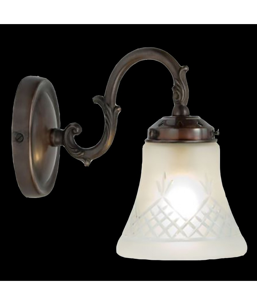 Antique  Wall  Light with Etched Bell Shade