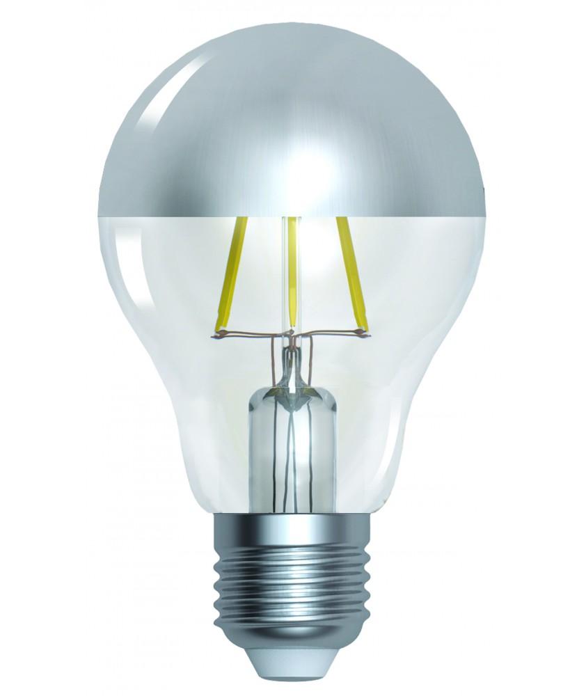 Standard ''CAP'' A60 silver cap LED filament 6W E27 2700K 750lm dim