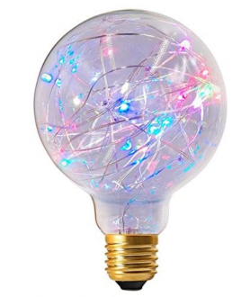 1.5W Non-Dimmable E27 Globe Happy In G125 Clear Decorative LED Multi Coloured Twinkle