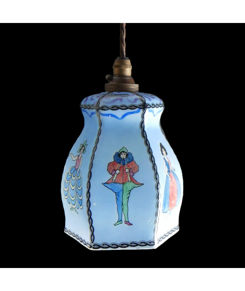 Vintage Blue Hand Painted Shade (Shade Only or Pendant)