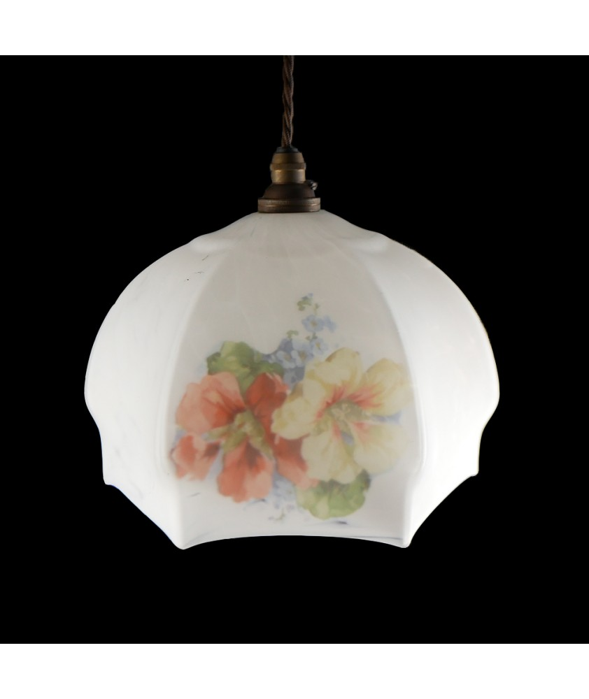 Vintage White Pendant with Floral Pattern (Shade only or Pendant)