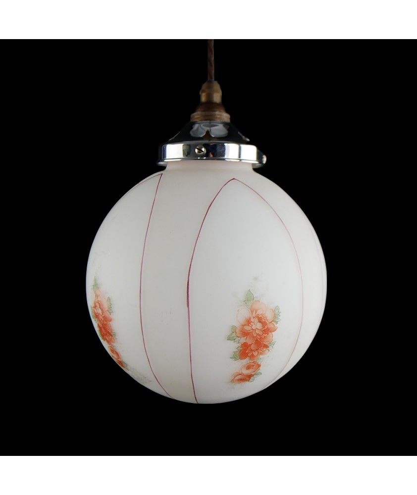 Red and White Flower Vintage Shade (Shade only or Pendant)