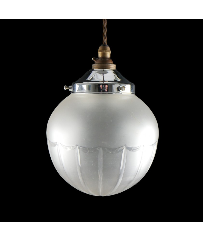 Frosted Globe with Linear Detailing (Shade only or Pendant)