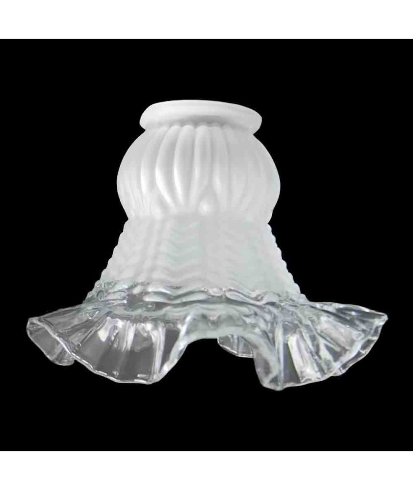 Frilled Tulip Light Shade with Clear Lip with 57mm Fitter Neck