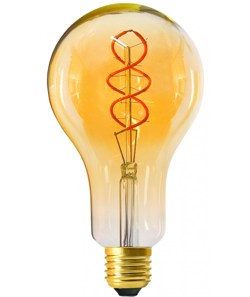 Big bulb twisted LED filament 180mm 4W E27 2000K 200lm 95 x 180mm amb. dim.