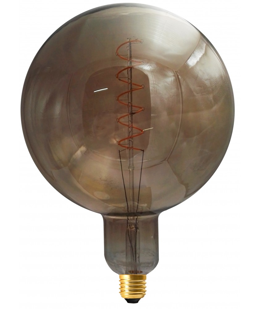 Giant globe G200 twisted LED filament 6W E27 2000K 240lm 200 x 285mm smoky dim.