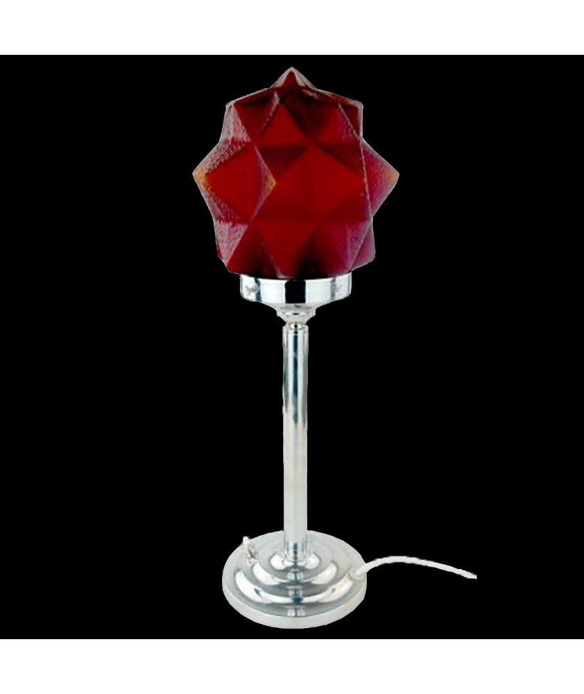 Art Deco Lamp with Red Star Shade