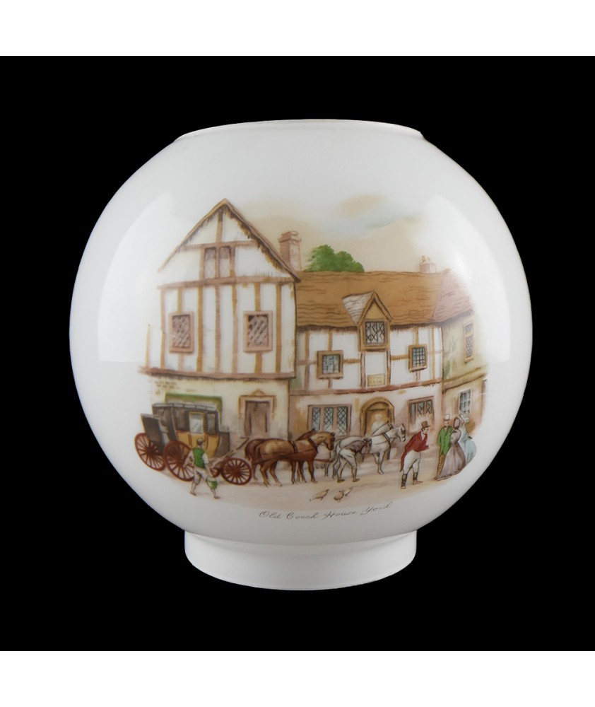 Opal Oil Lamp Shade with Coach and Horses with 100mm Base