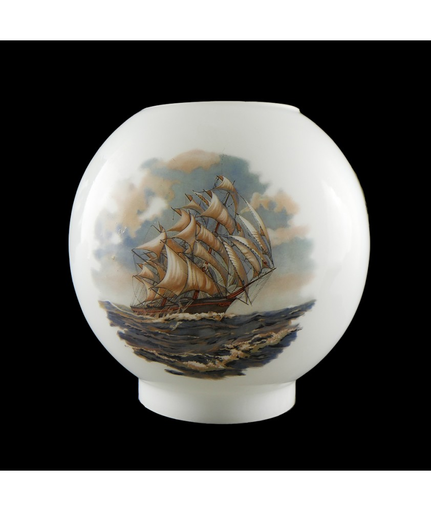 Opal Oil Lamp Shade with Galleon scene and 100mm Base