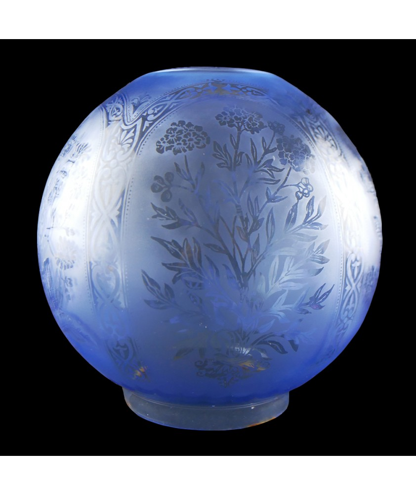 Blue Floral Patterned Oil Lamp Shade 100mm Base
