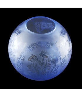Blue Floral Patterned Oil Lamp Shade 100mm Base