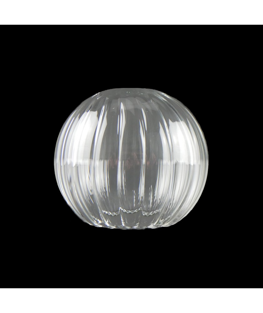 100mm Ribbed Clear Globe Light Shade  with 55mm Fitter Hole (Clear or Frosted)