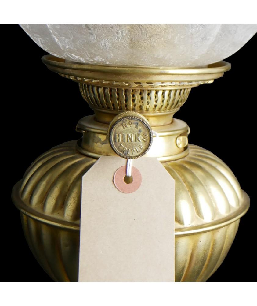 Hinks Triple Burner Oil Lamp with Original Shade