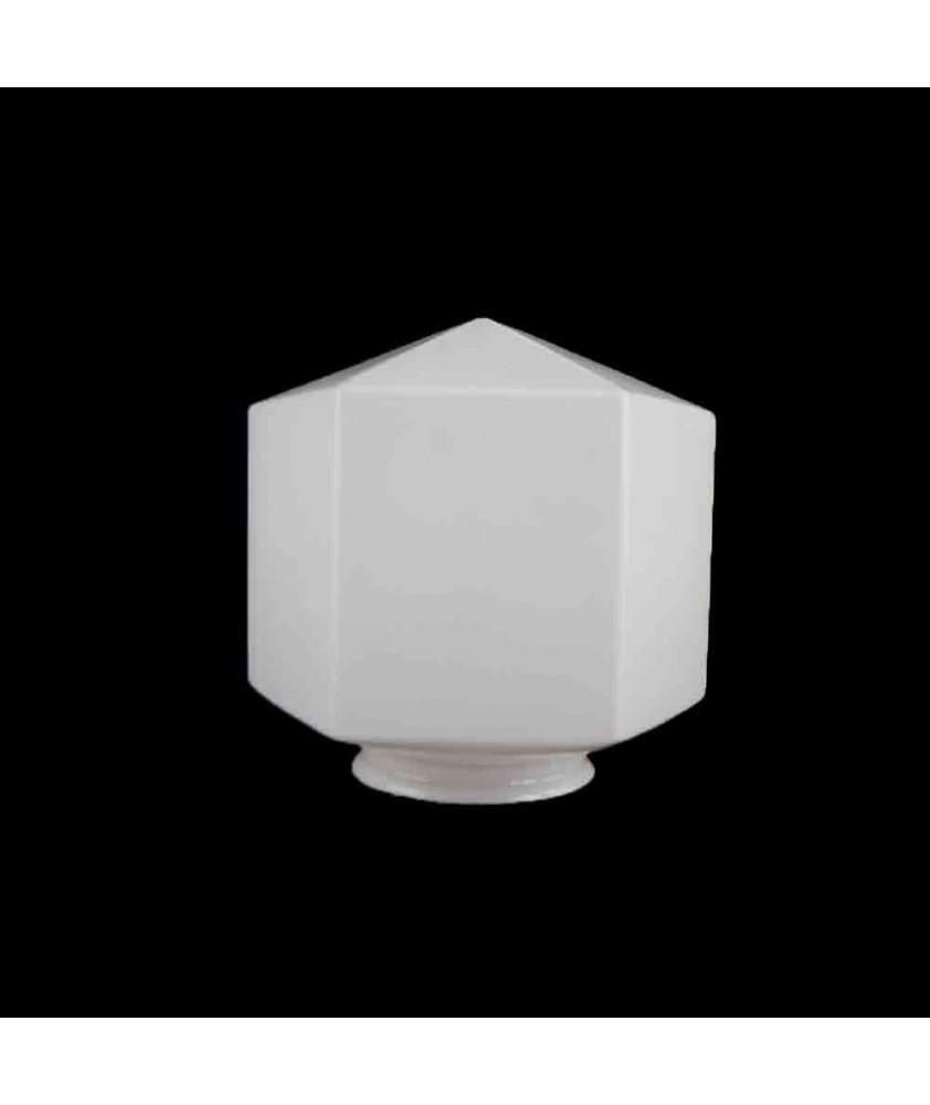 Opal Hexagonal Art Deco Shade with 80mm Fitter Neck
