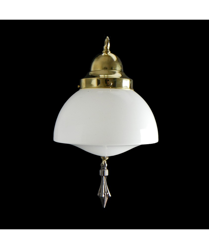 Art Deco Ceiling Light Shade with Finale and 125mm Fitter Neck