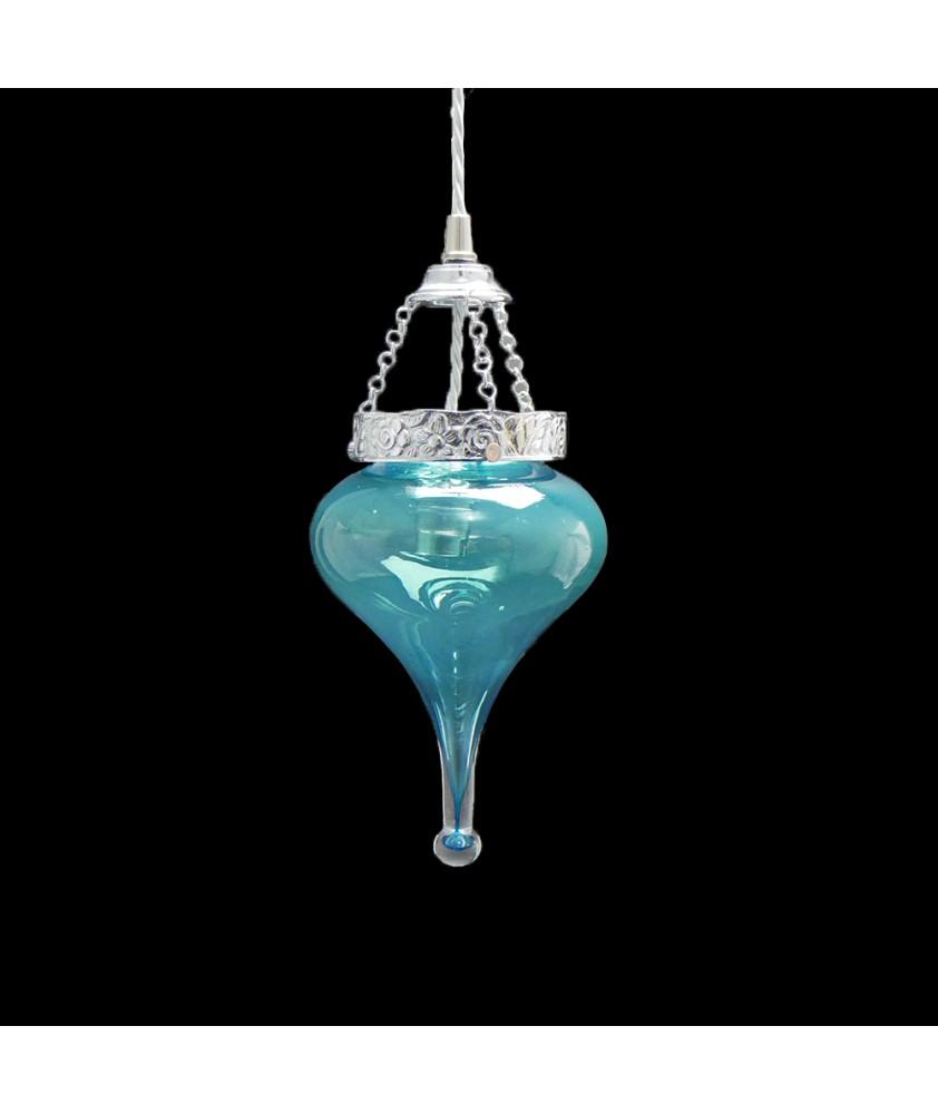 Aqua Blue Drop Light Shade with 80mm Fitter Neck