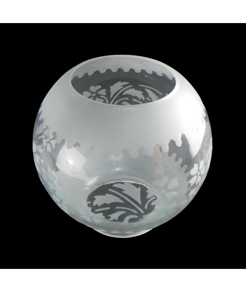 Etched Floral Patterned Oil Lamp Globe with 100mm Base