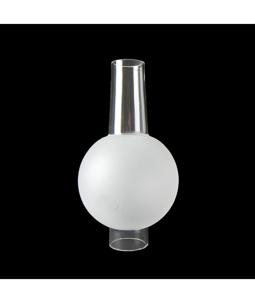 Part Frosted Bulge Oil Lamp Chimney with 40mm Base