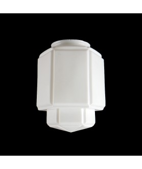 Small Opal Art Deco Geometric Table Lamp Shade with 80mm Fitter Neck