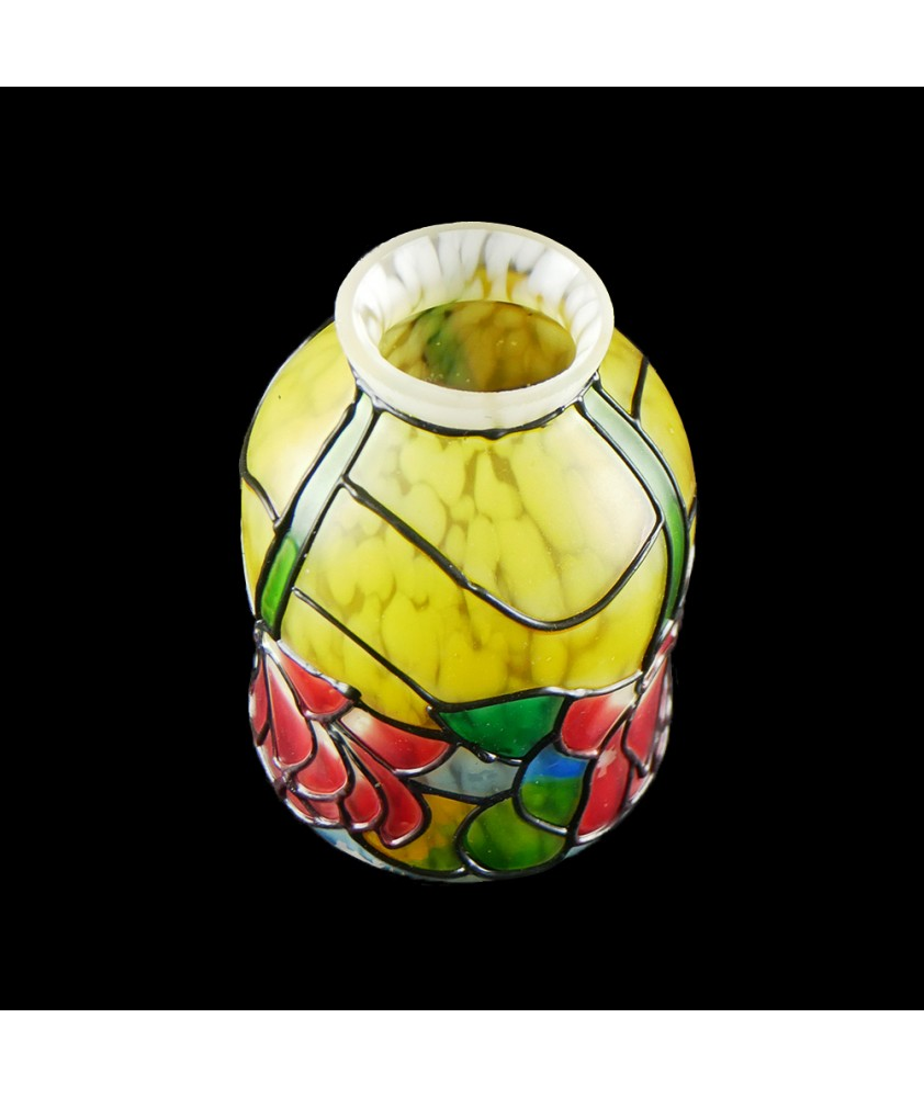 Painted Patterned Flower Tulip Shade with 53mm Fitter Neck