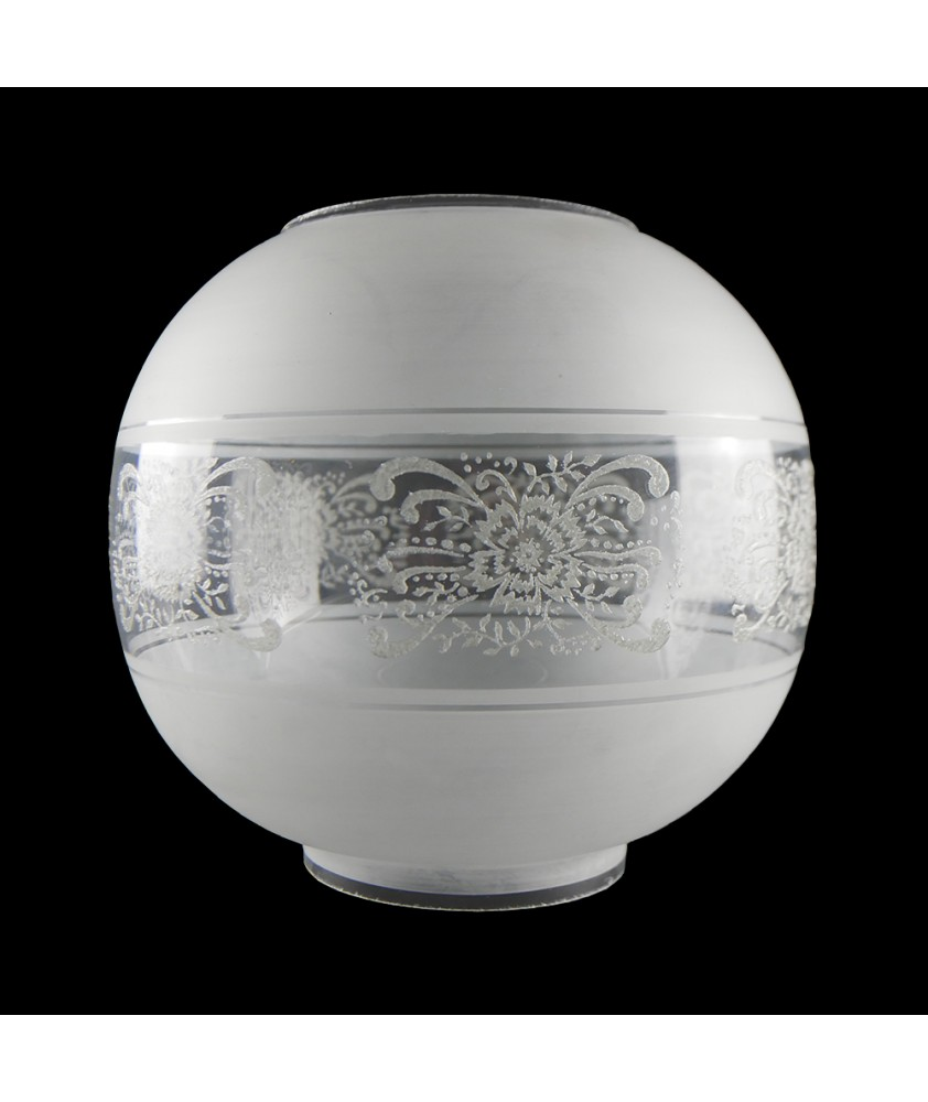 Frosted Oil Lamp Shade with Clear Patterned Band and 100mm Base
