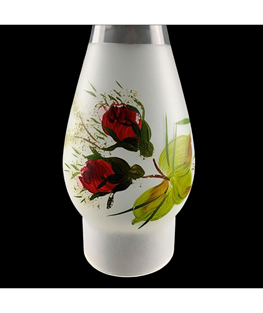 65mm Base Frosted Lotus Style Chimney with Hand Painted Pattern (Various Options)
