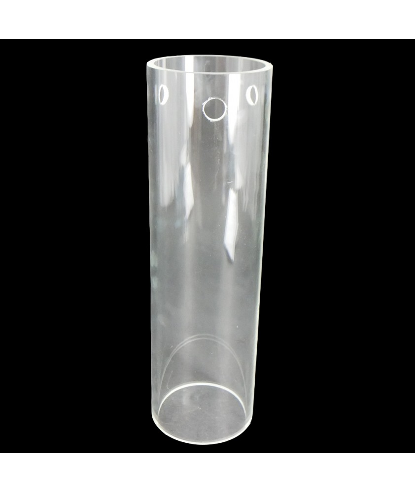 300mm Clear Glass Cylinder with 90mm Diameter and 3 Hole for Fitting