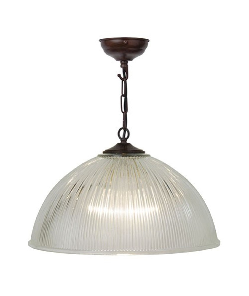 Dome Pendant 380mm- Antique Bronze and Clear
