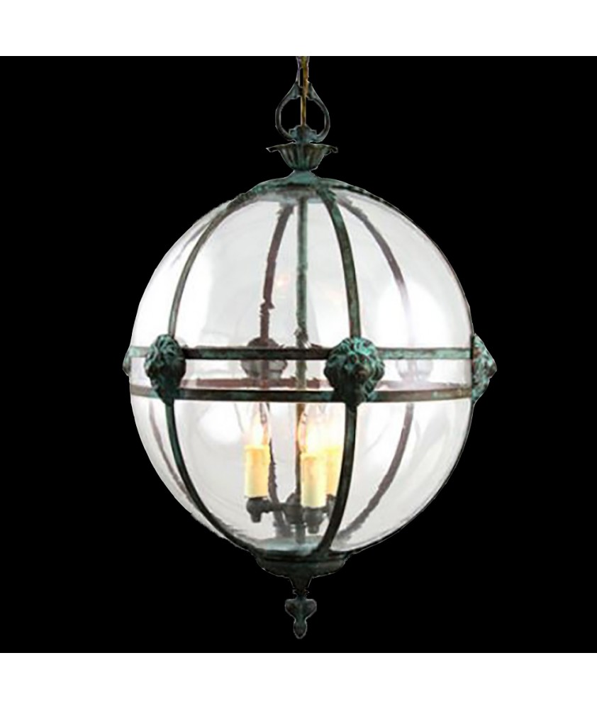 Victorian Lantern with Lions Heads, Verdigris and Ivory Drips