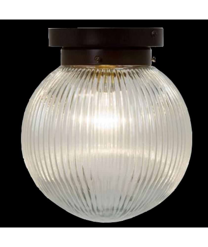 Prismatic Globe Flush Ceiling Light With Antique Bronze Finish