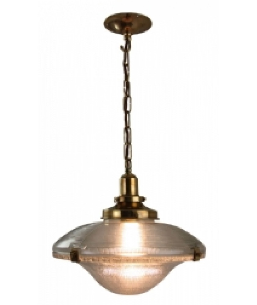 Cross Reeded Pendant in a Distressed Brass Finish