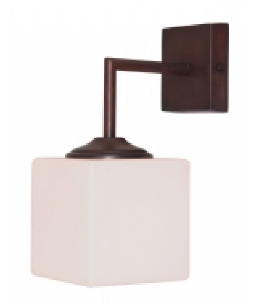 Cube Wall Light with Square Backplate in an Antique Bronze Finish