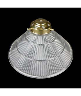 250mm Prismatic Coolie Light Shade with 62mm Fitter Neck (clear or Frosted)  Complete with Brass Gallery