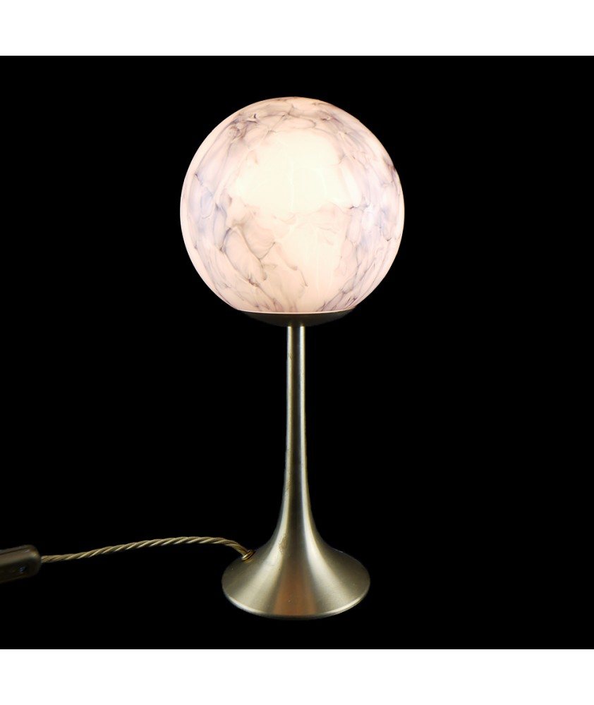 150mm Art Deco Pink Marbled Globe Light Shade with 80mm Fitter Hole