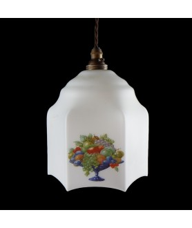 155mm Retro Ceiling Light Shade Shade with Fruit Motif and 30mm Fitter Hole (Shade only or Pendant)