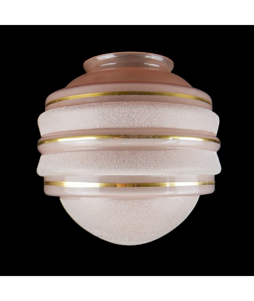 Pink Art Deco Globe with Gold Band and Frosted Finish and 105mm Fitter Neck