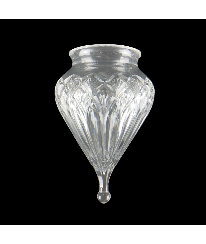 Crystal Cut Acorn Tear Drop Shade with 80mm Fitter Neck