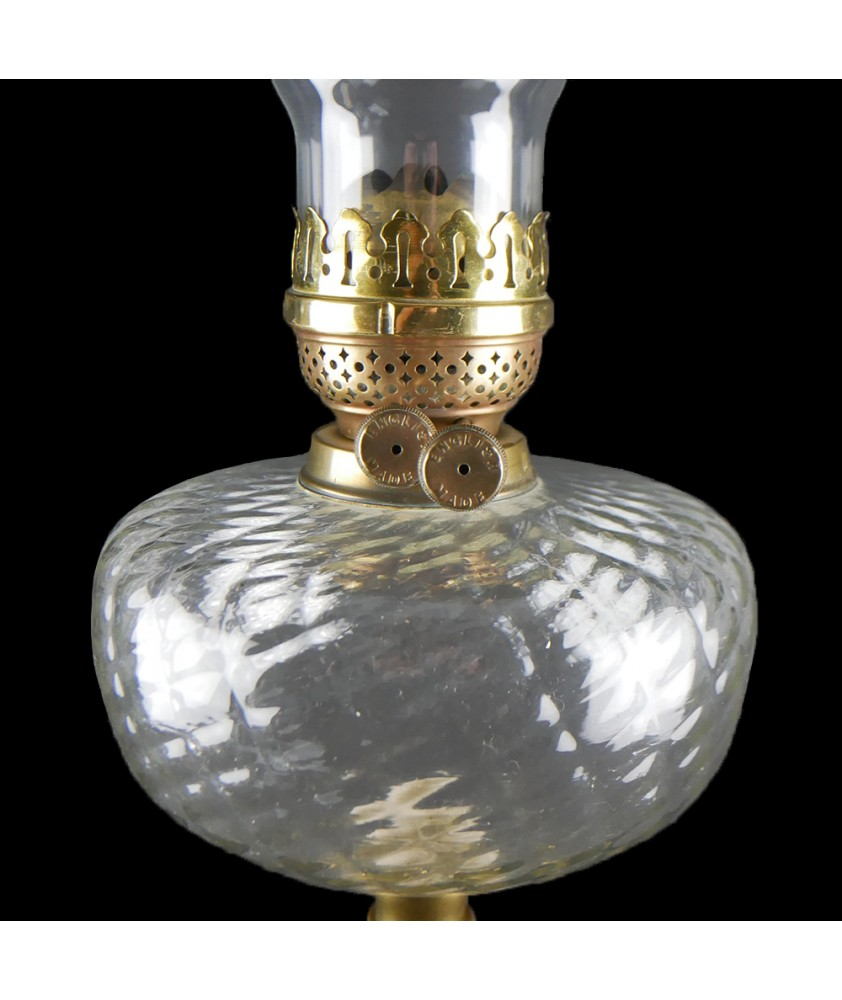 Brass Oil Lamp with Glass Font, Complete with Chimney