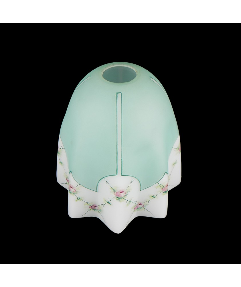 1950's Teal Tulip Shade with Rose Pattern and 30mm Fitter Hole