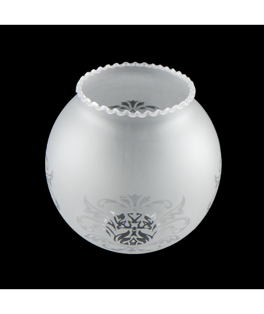 Satin Frosted Chandelier Light Shade with Motif and 50mm Fitter Hole