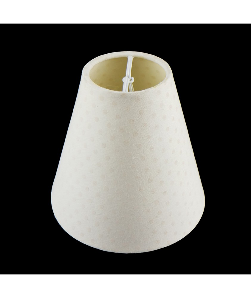 Cream Spotted Fabric Shade Suitable for Candle Bulbs