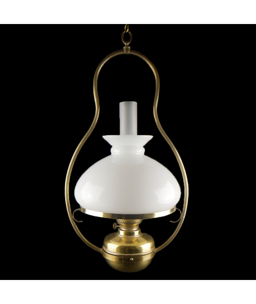 Hanging Electrified Brass Oil Lamp complete with Shade and Chimney